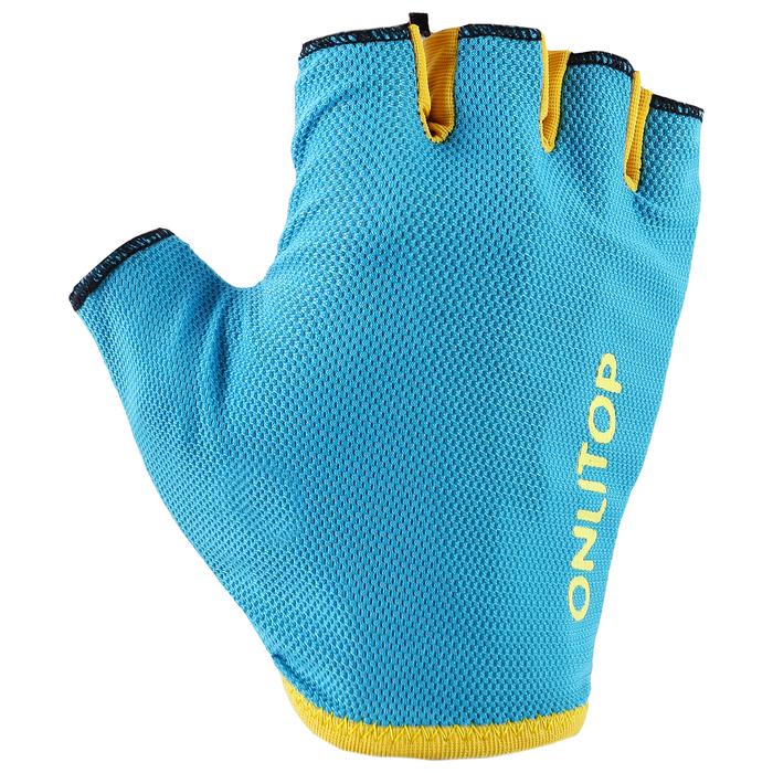 Перчатки спортивные, размер М, цвет голубой