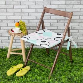Подушка на стул уличная «Этель» Квадраты, 45×45 см, репс с пропиткой ВМГО, 100% хлопок