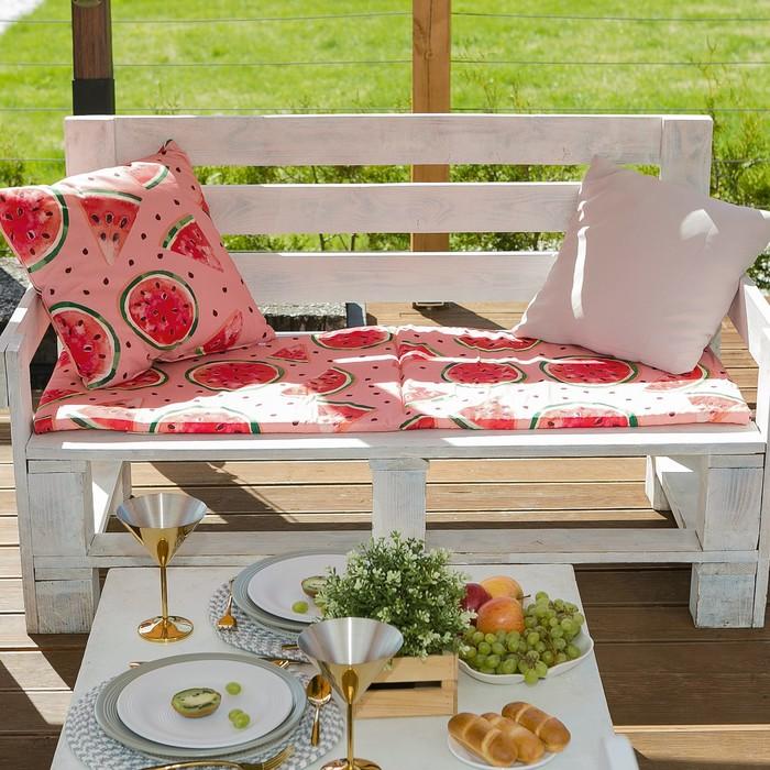 Подушка на 2-местную скамейку Этель «Арбузы», 45 × 120 см, репс с пропиткой ВМГО, 100%-ный хлопок