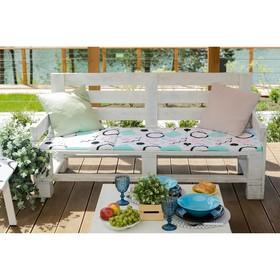 Подушка на двухместную скамейку «Этель» Квадраты, 45×120 см, репс с пропиткой ВМГО, 100% хлопок