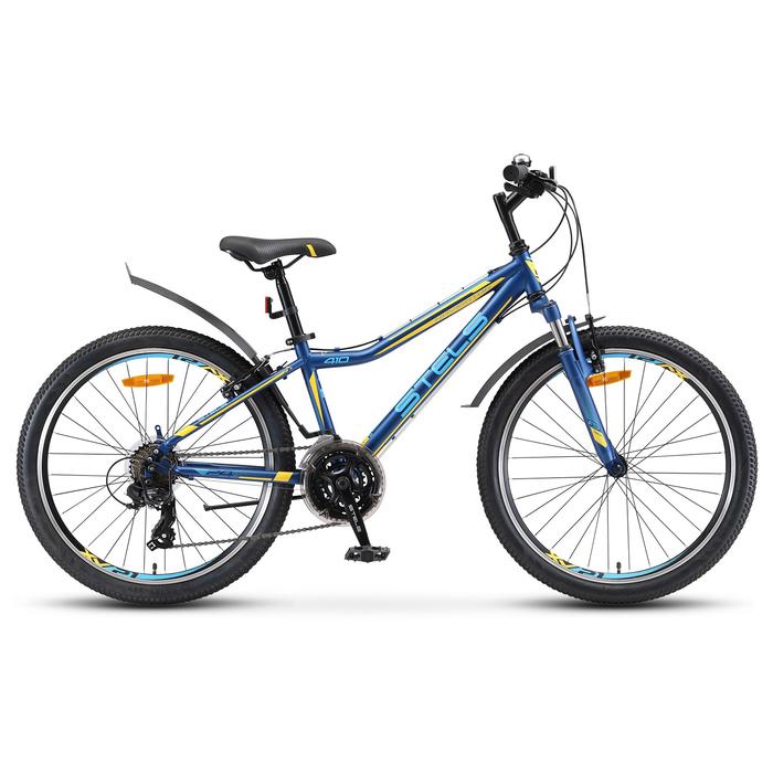 "Велосипед 24"" Stels Navigator-410 V, V010, цвет тёмно-синий/жёлтый, размер 13"""