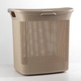 Корзина для белья с крышкой Ajur, 35 л, 34×43×45 см, цвет кофейный