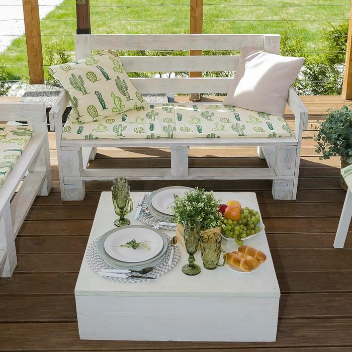 Подушка на 2-местную скамейку Этель: Кактусы, 45 × 120 см, репс с пропиткой ВМГО, 100%-ный хлопок