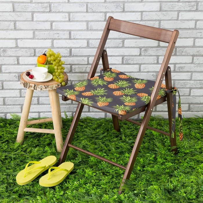 Подушка на стул уличная «Этель» Ананасы, 45×45 см, репс с пропиткой ВМГО, 100% хлопок