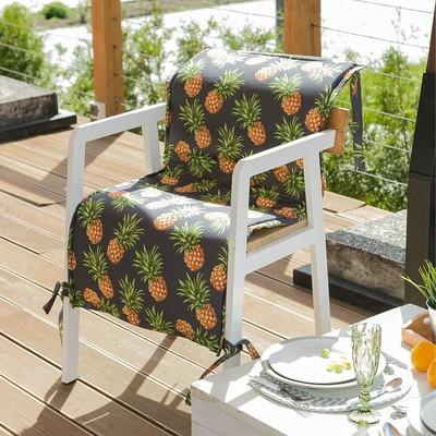 Подушка на уличное кресло «Этель» Ананасы, 50×100+2 см, репс с пропиткой ВМГО, 100% хлопок