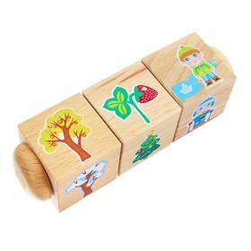 Кубики деревянные на оси «Времена года» 3 кубика