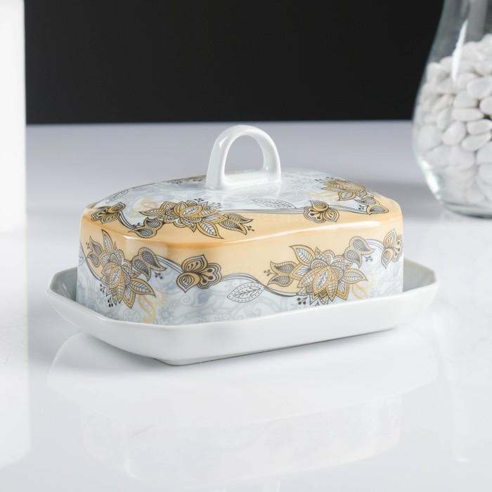Маслёнка, 18×13,5×10 см, кремовая