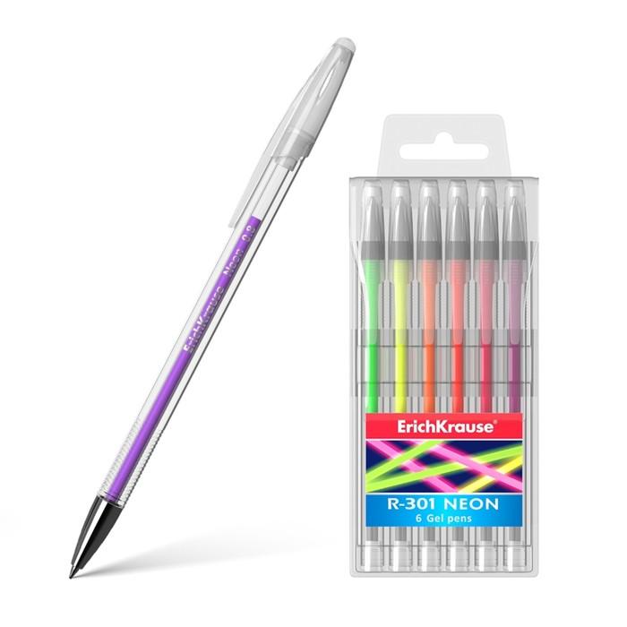 Набор ручек гелевых 6 штук Erich Krause R-301 Neon, узел 0.8 мм, яркие неоновые чернила, в пластиковом футляре, длина письма 400 м