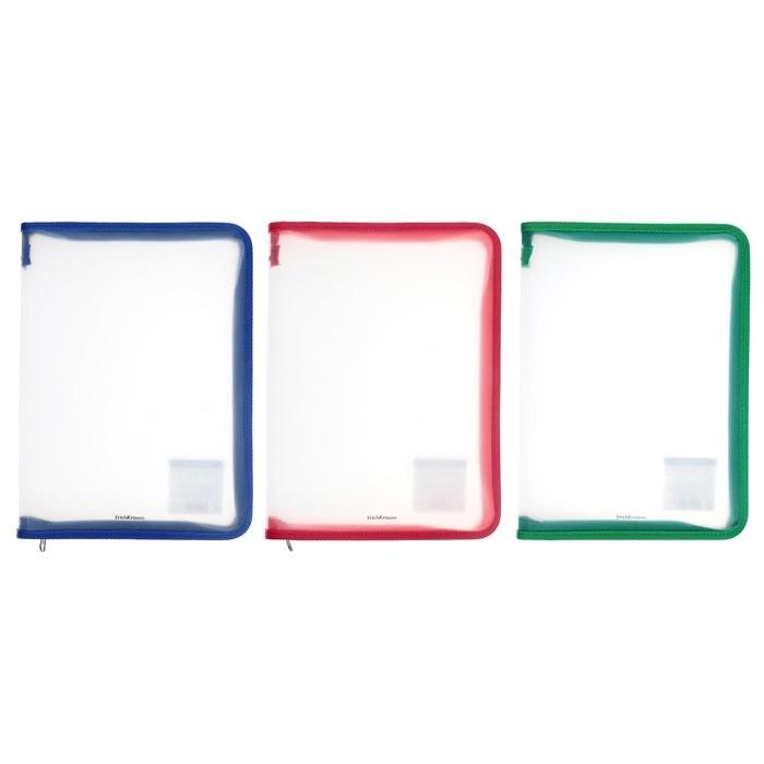 Папка пластиковая А4, молния вокруг, Офис Б/ЦВ Erich Krause Glance Clear, 4 штуки в пакете, МИКС
