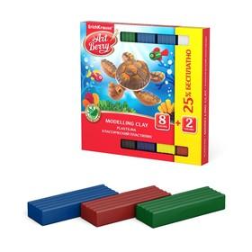 Пластилин 8 цветов + 2 в подарок, 180 г, ErichKrause, с алоэ вера, индивидуальная упаковка брусков, картонной промо-упаковке