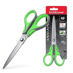 Ножницы 18 см, ErichKrause Megapolis, с усовершенствованными 4D-лезвиями, не ржавеют, ручки с резиновыми вставками, в блистере
