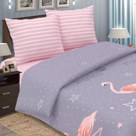 Постельное бельё дуэт Pastel «Фламинго», 147х217 - 2 шт, 220х240, 70х70см - 2 шт, поплин
