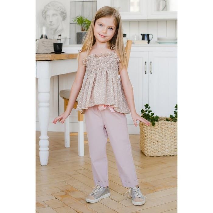 Брюки с поясом для девочки MINAKU, рост 104 см, цвет розовый - фото 105571623