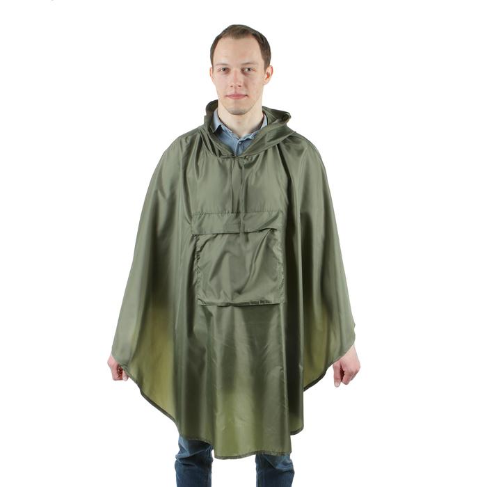 Плащ-дождевик с карманом, взрослый, водоотталкивающий, хаки, длина 100 см