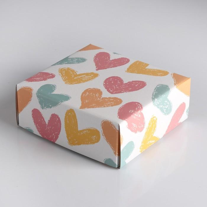 "Коробка сборная крышка-дно без окна, ""Меловые сердца"", 14,5 х 14,5 х 6 см"
