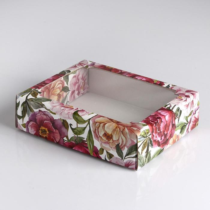 """Коробка сборная крышка-дно с окном, """"Акварельные цветы"""", 18 х 15 х 5 см - фото 309352162"""