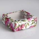 """Коробка сборная крышка-дно с окном, """"Акварельные цветы"""", 14,5 х 14,5 х 6 см"""