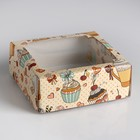 """Коробка сборная крышка-дно с окном, """"Сладкое чаепитие"""", 14,5 х 14,5 х 6 см"""