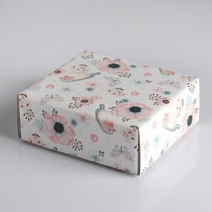 """Коробка сборная крышка-дно без окна, """"Ипомея"""", 14,5 х 14,5 х 6 см"""