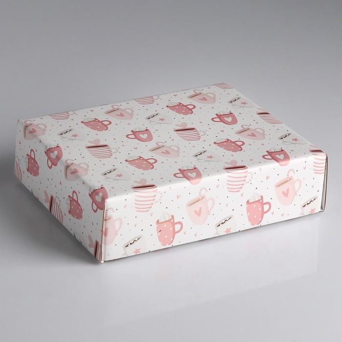 "Коробка сборная крышка-дно без окна, ""Кружки счастья"", 18 х 15 х 5 см"