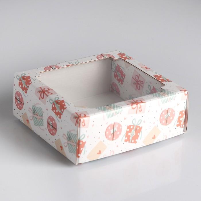 "Коробка сборная крышка-дно с окном, ""Подарки-бантики"", 14,5 х 14,5 х 6 см"