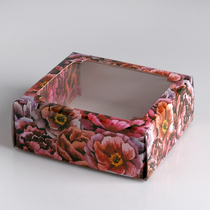 """Коробка сборная крышка-дно с окном, """"Букет пионов"""", 14,5 х 14,5 х 6 см"""