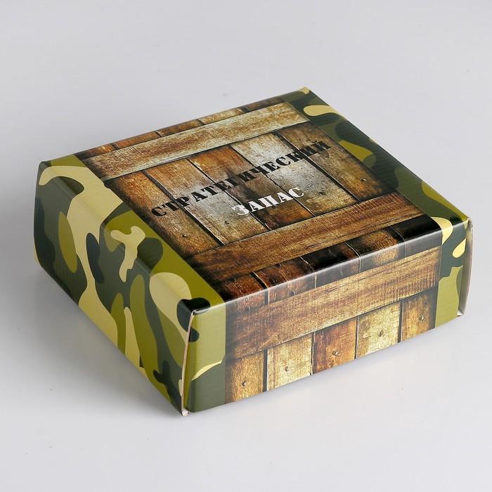 """Коробка сборная крышка-дно без окна, """"Стратегический запас"""", 14,5 х 14,5 х 6 см - фото 144680237"""