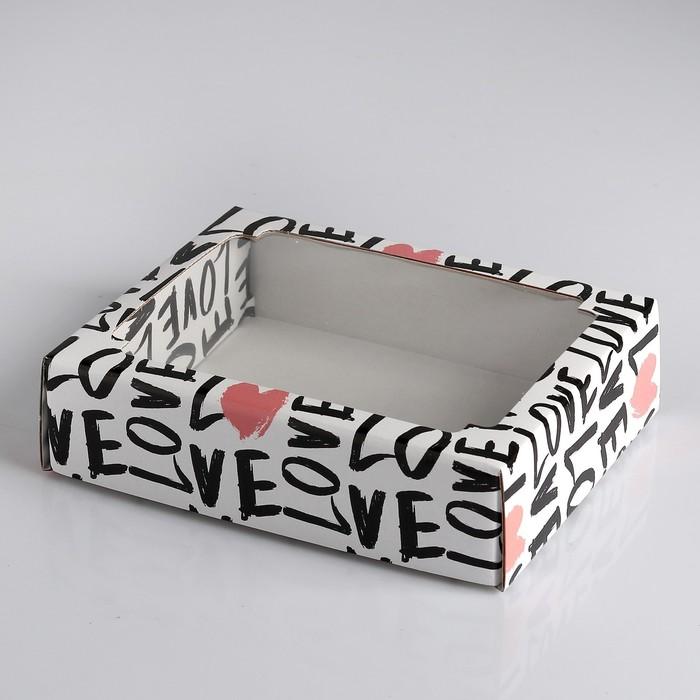 """Коробка сборная крышка-дно с окном, """"Черно-розовая любовь"""",  18 х 15 х 5 см"""