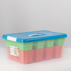 Контейнер для хранения 10 л Kid's Box, с ручкой, 12 вставок, 2 лотка, цвет МИКС