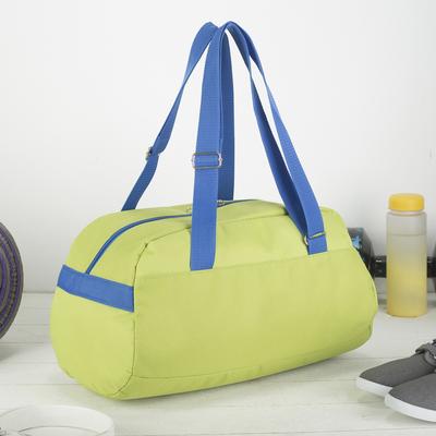 Сумка спортивная, отдел на молнии, наружный карман, цвет салатовый/голубой