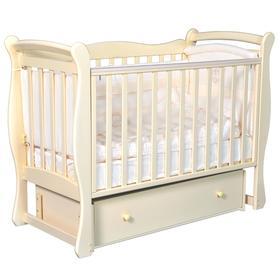Кроватка детская Viola 1, автостенка, ящик, универсальный маятник, цвет слоновая кость