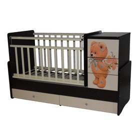 Кроватка-трансформер Martina 2 Teddy, поперечный маятник, цвет венге-слоновая кость