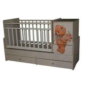 Кроватка-трансформер Martina 2 Teddy , поперечный маятник, цвет слоновая кость