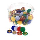 Set of buttons with color plastic head, in a plastic box
