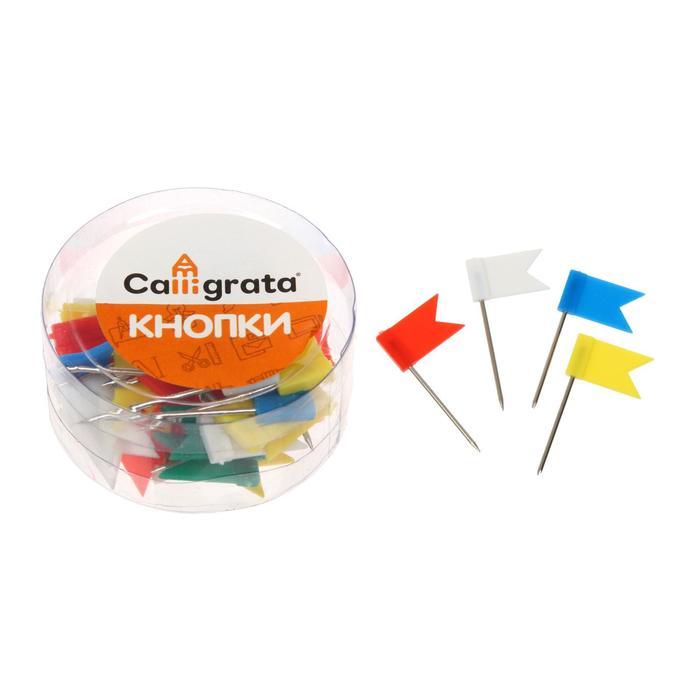 """Набор кнопок """"Флажки"""" цветные, в пластиковой упаковке"""