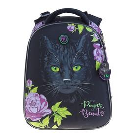 Рюкзак каркасный Hummingbird T 39 х 28 х 20 см, для девочки, «Кошка», чёрный/сиреневый
