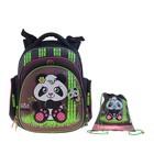 """Рюкзак каркасный Hummingbird TK 37*32*18 +мешок д/обуви дев """"Панда"""", чёрный/зелёный 40ТК"""