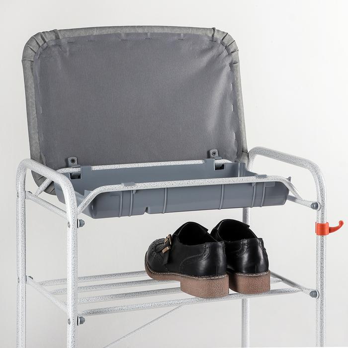 Подставка для обуви 3 яруса 45×30×48 см, с сиденьем и ящиком, цвет белое серебро