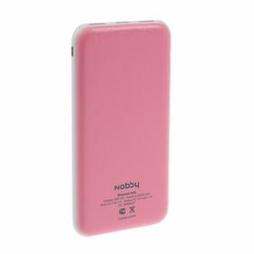 Внешний аккумулятор Nobby, 2 USB, 10000 мАч, 2 A, индикатор зарядки, розовый