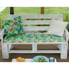 Подушка на 2-местную скамейку Этель «Попугай», 45 × 120 см, репс с пропиткой ВМГО, 100%-ный хлопок