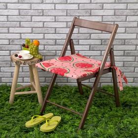 Подушка на стул уличная «Этель» Арбузы, 45×45 см, репс с пропиткой ВМГО, 100% хлопок Ош