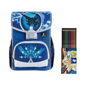 Ранец на замке Belmil Click, 35 х 26 х 17 см, для мальчика, Sky Unit, синий/серый