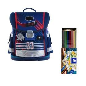 Ранец на замке Belmil Classy, 36 х 32 х 19 см, для мальчика Ice Hockey, синий