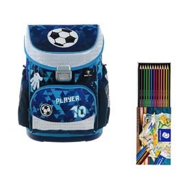 Ранец на замке Belmil Mini-Fit, 36 х 28 х 17 см, для мальчика, Player, синий