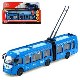Машина металлическая «Троллейбус новый с резинкой», 19 см, световой и звуковой эффекты, инерционная
