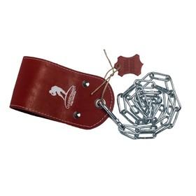 Ремешок кожаный для отягощения на пояс, цвет красный