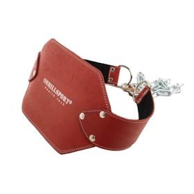 Пояс с цепью кожаный 85 см (атлетический), цвет красный