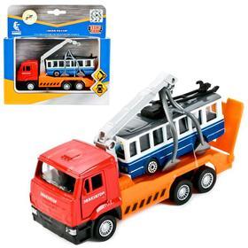Набор металлических инерционных машин «Камаз-эвакуатор + троллейбус» ,12 см и 7,5 см