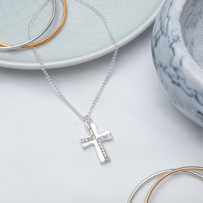 "Кулон ""Крест"", цвет белый в серебр"