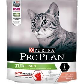 Сухой корм PRO PLAN для стерилизованных кошек с чувствительным пищеварением, лосось, 400 г